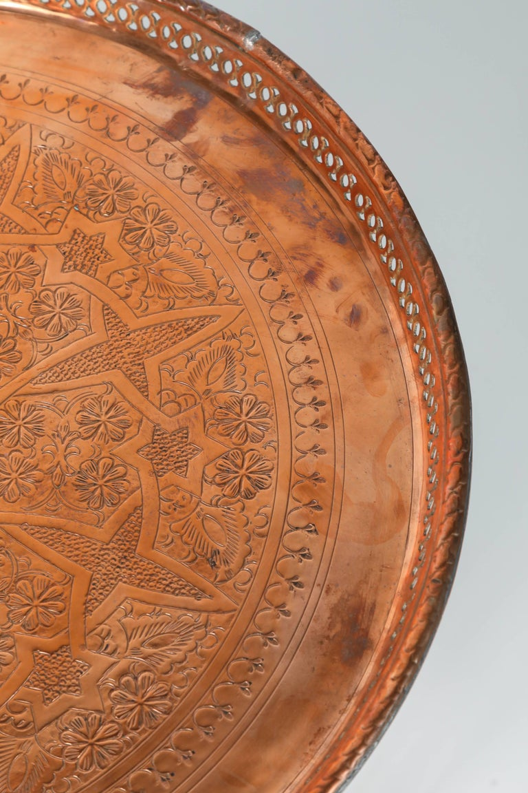 Hand-Carved Moroccan Copper Tray Table with Folding Base For Sale