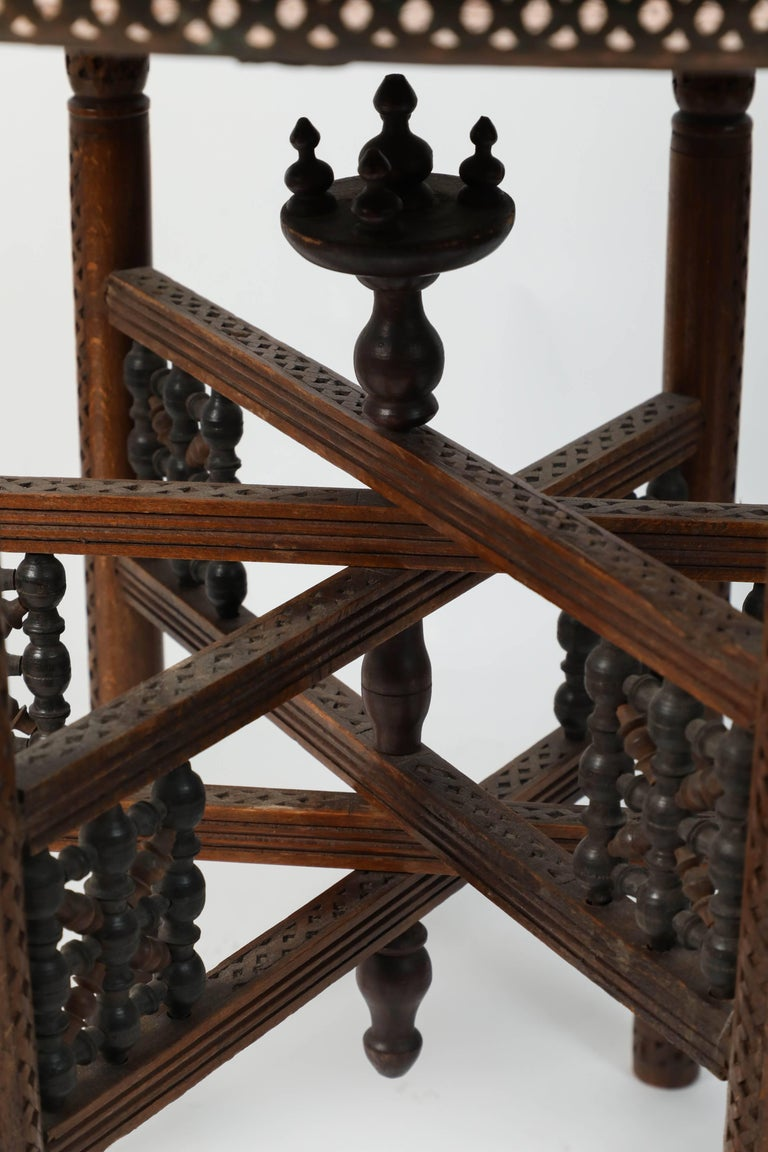 Moroccan Copper Tray Table with Folding Base For Sale 1