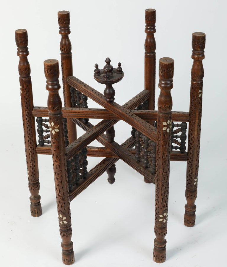 Moroccan Copper Tray Table with Folding Base For Sale 2