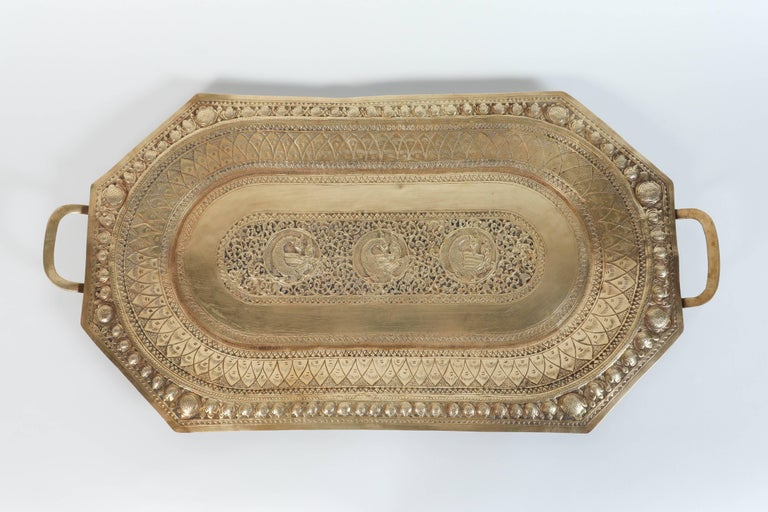 Anglo Raj Indo Persian Brass Charger Serving Tray For Sale