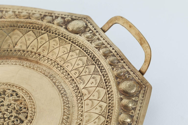 Indian Indo Persian Brass Charger Serving Tray For Sale