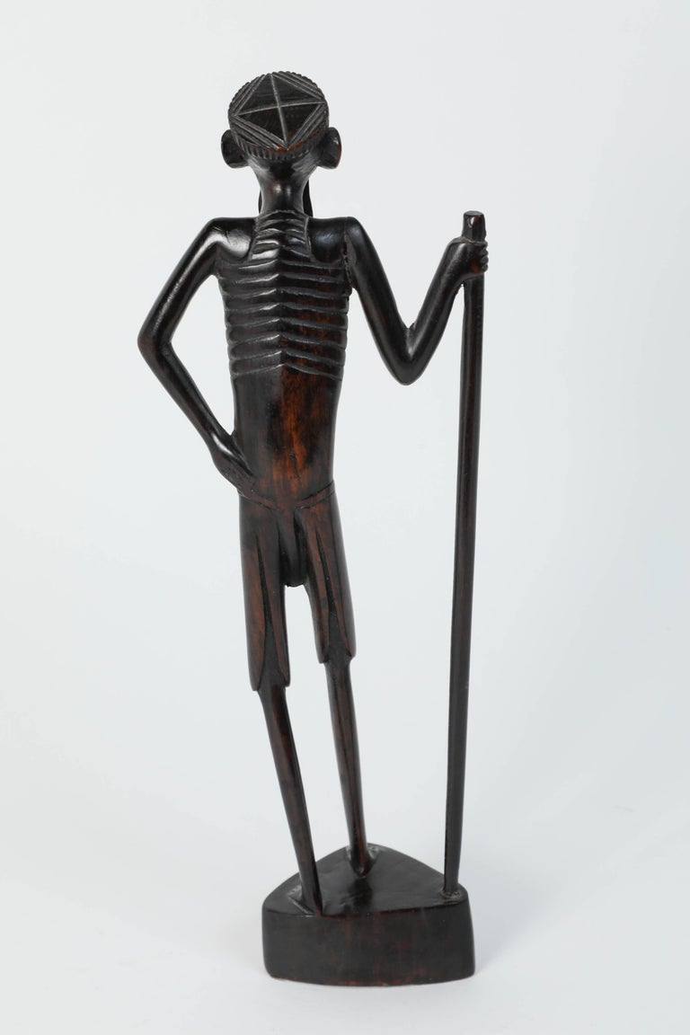 Tribal Decorative Hand-Carved African Set of Four Statues from Kenya For Sale