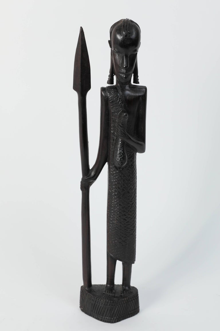 Kenyan Decorative Hand-Carved African Set of Four Statues from Kenya For Sale