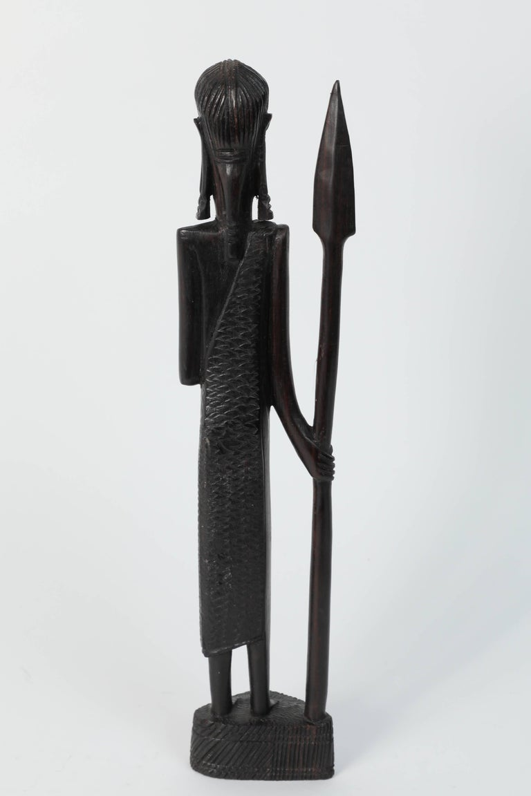 Decorative Hand-Carved African Set of Four Statues from Kenya In Good Condition For Sale In Los Angeles, CA