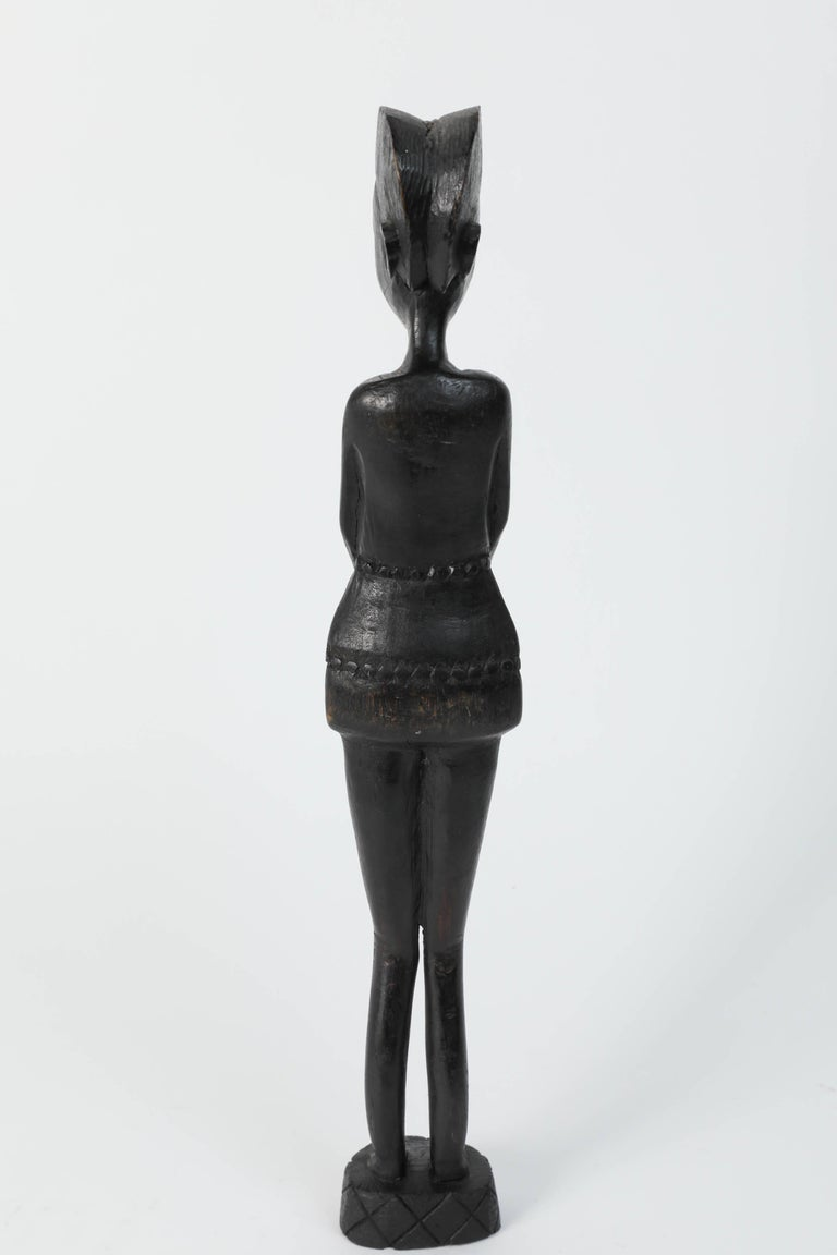 Ebony Decorative Hand-Carved African Set of Four Statues from Kenya For Sale