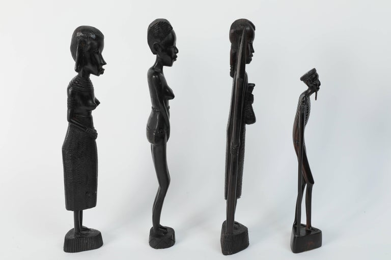Decorative Hand-Carved African Set of Four Statues from Kenya For Sale 3
