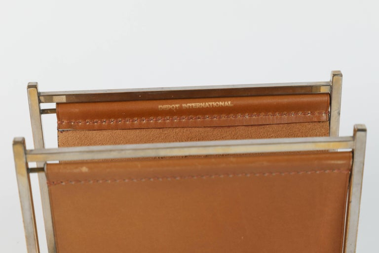 Post-Modern Delvaux Paris Leather and Brass Note Pad and Letter Rack Desk Set  For Sale