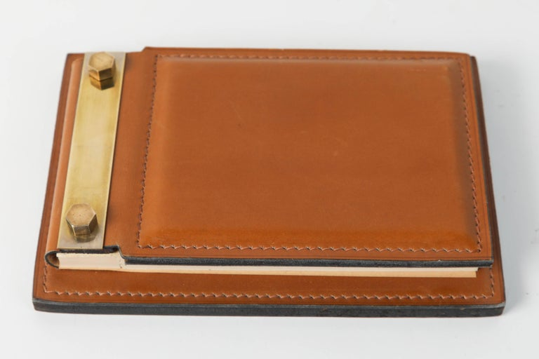 Belgian Delvaux Paris Leather and Brass Note Pad and Letter Rack Desk Set  For Sale