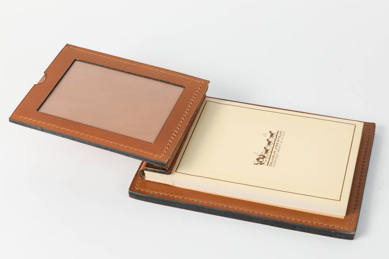 Hand-Crafted Delvaux Paris Leather and Brass Note Pad and Letter Rack Desk Set  For Sale