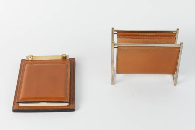 Delvaux Paris Leather and Brass Note Pad and Letter Rack Desk Set  In Good Condition For Sale In North Hollywood, CA