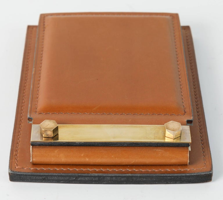 20th Century Delvaux Paris Leather and Brass Note Pad and Letter Rack Desk Set  For Sale