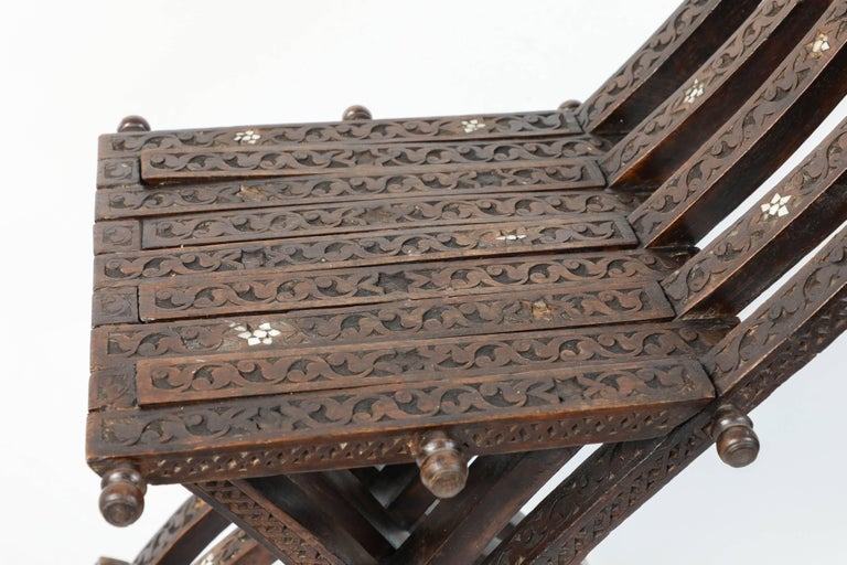 20th Century Syrian Mother-of-Pearl Inlaid Wooden Folding Chair For Sale