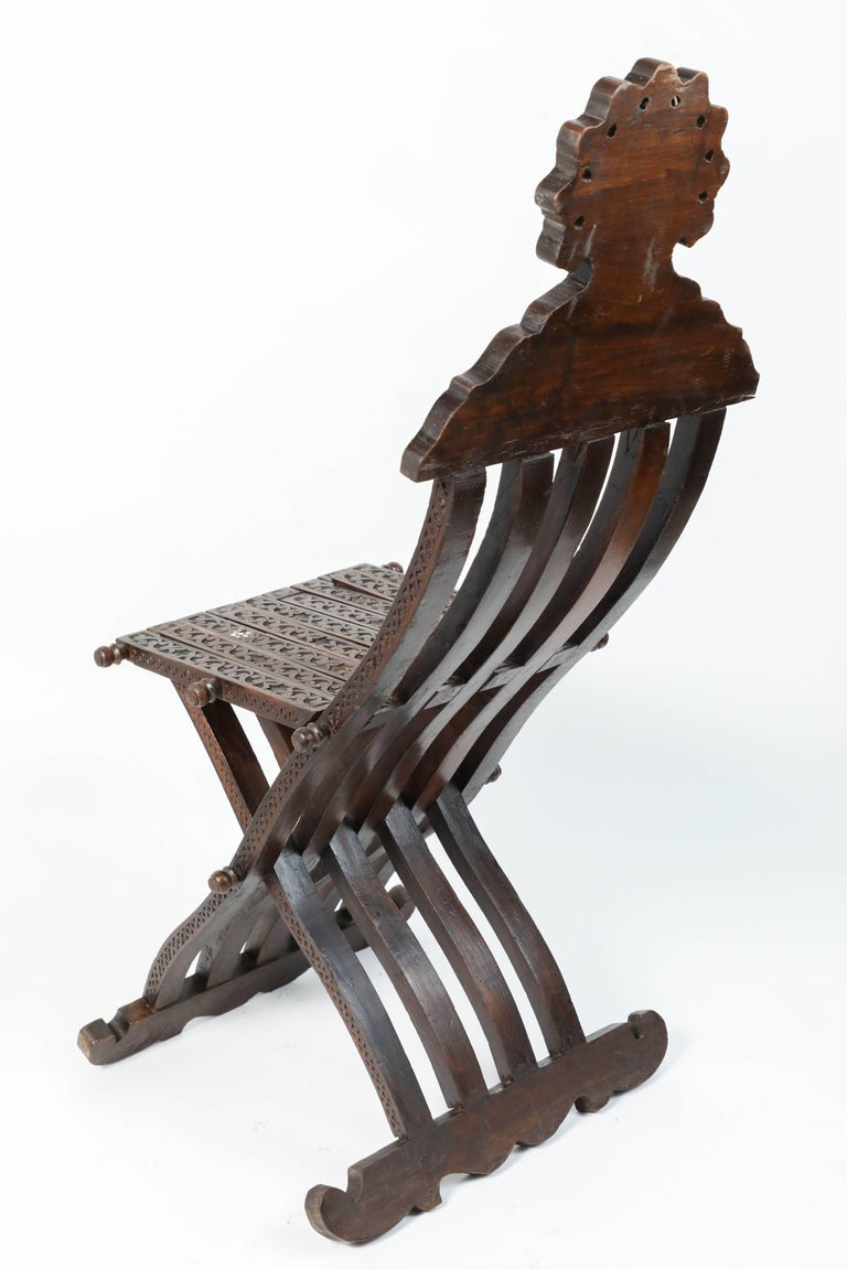 Syrian Mother-of-Pearl Inlaid Wooden Folding Chair For Sale 1