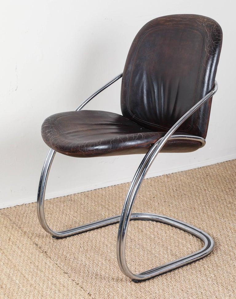 American Midcentury Tubular Chrome Chair   One chair SOLD For Sale