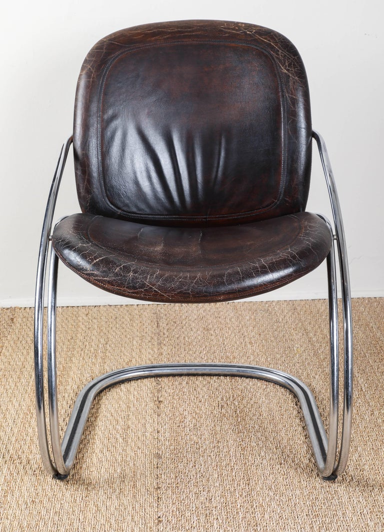 Midcentury Tubular Chrome Chair   One chair SOLD In Good Condition For Sale In Los Angeles, CA