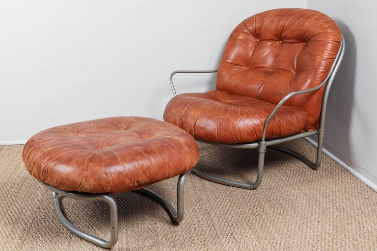 Midcentury French Leather Chair and Ottoman 2
