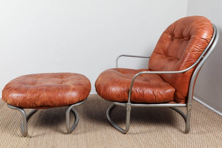Midcentury French Leather Chair and Ottoman 5