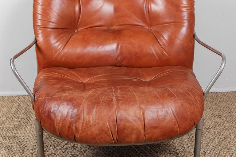 Midcentury French Leather Chair and Ottoman 6