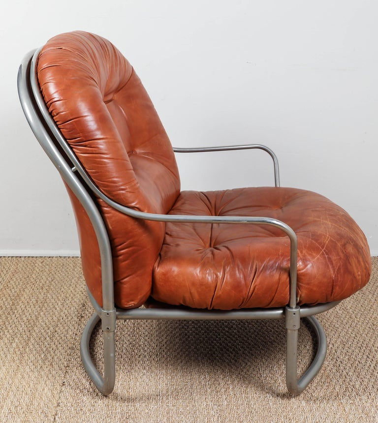Midcentury French Leather Chair and Ottoman 7