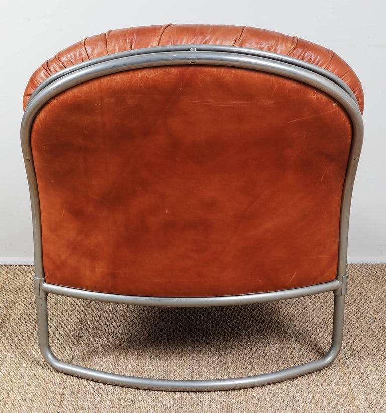 Midcentury French Leather Chair and Ottoman 10
