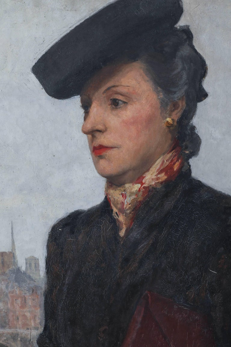 Portrait of a Parisian Woman in a Black Hat by C.P. Bernardo In Good Condition For Sale In Los Angeles, CA