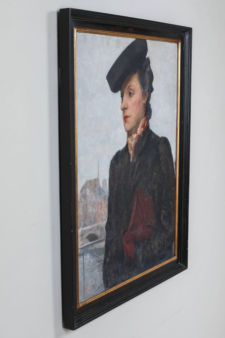 Portrait of a Parisian Woman in a Black Hat by C.P. Bernardo For Sale 1