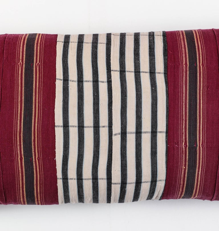 Nigerian African Ashante Striped Pillow, Double-Sided For Sale