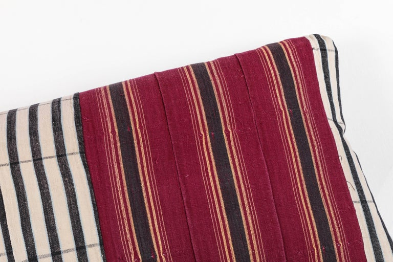 Hand-Woven African Ashante Striped Pillow, Double-Sided For Sale