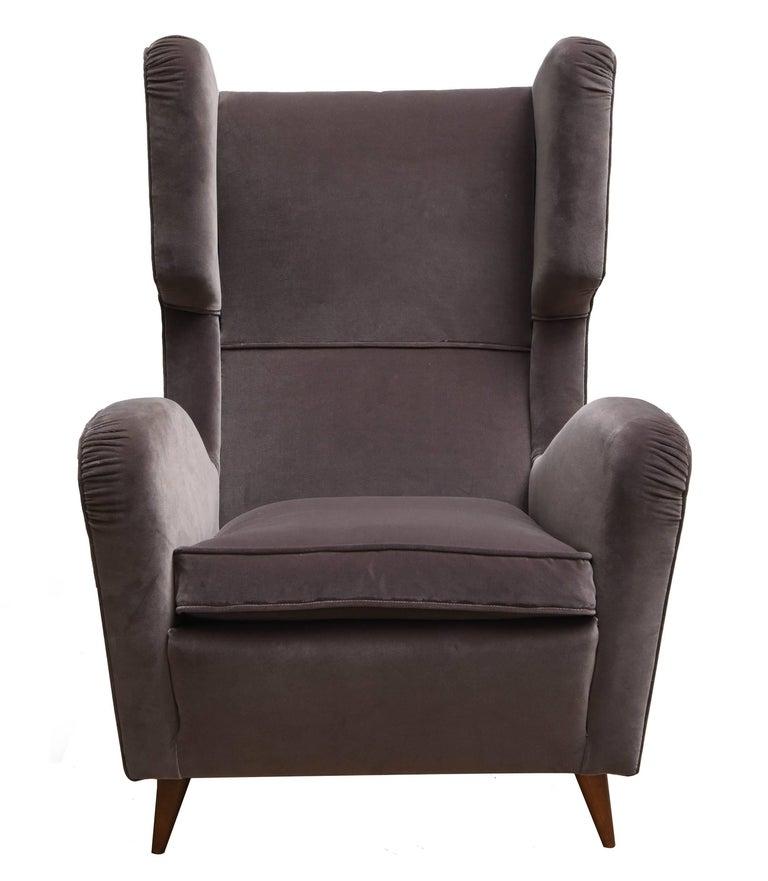 Pair of Melchiorre Bega Grey Velvet Armchairs 3