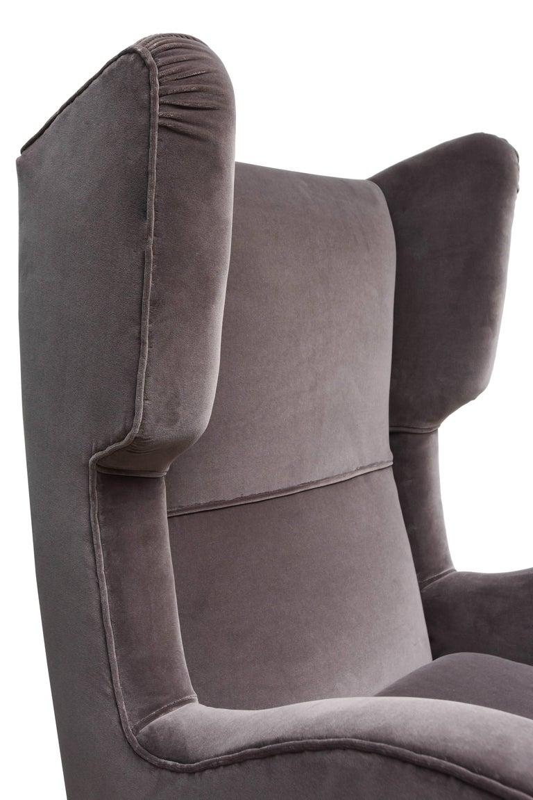 Pair of Melchiorre Bega Grey Velvet Armchairs 6