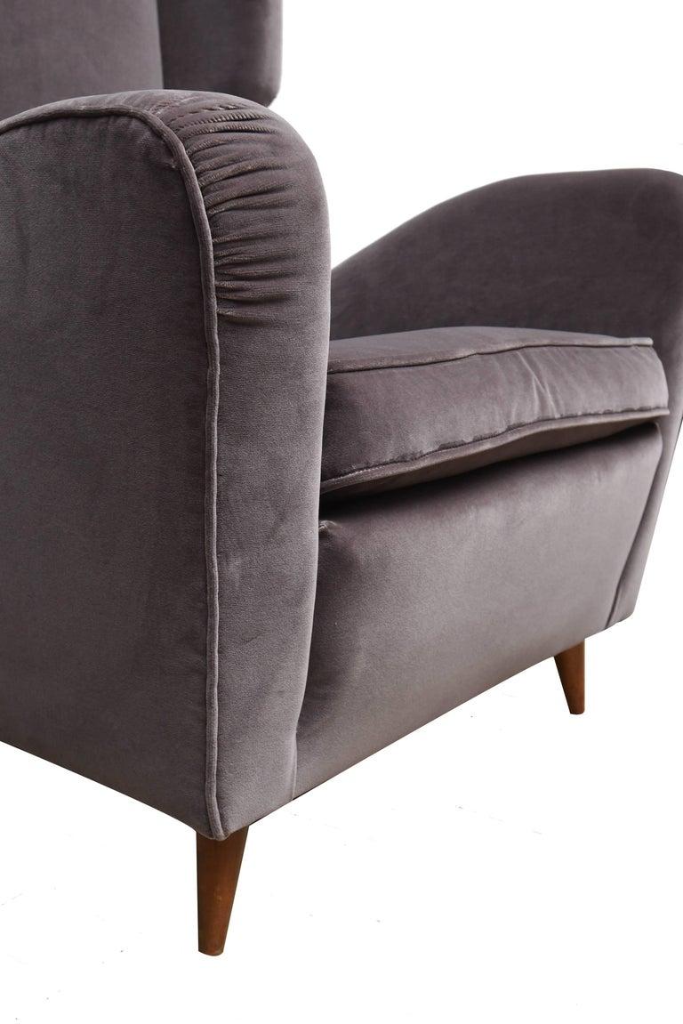 Pair of Melchiorre Bega Grey Velvet Armchairs 7