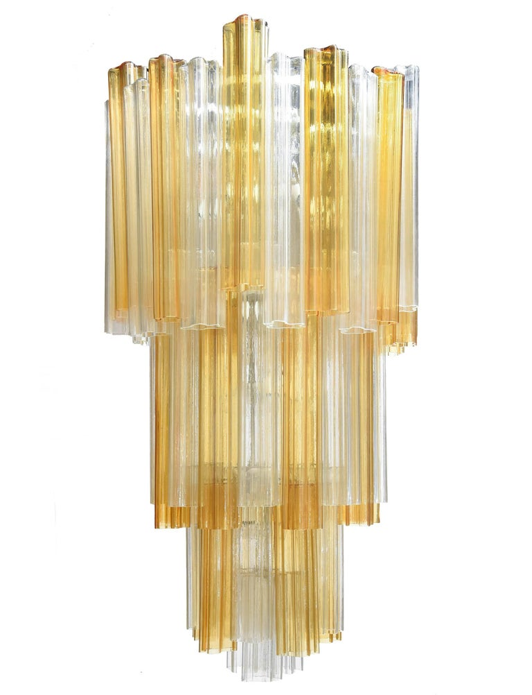 1950s venini chandelier with elements in transparent and yellow venini big chandelier from the lago series with elements in transparent and yellow aloadofball Gallery