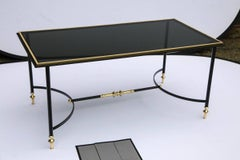 Bronze & Iron Coffee Table with Black Glass Top