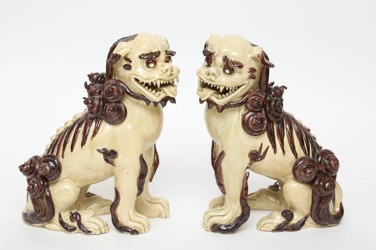 Pair of Glazed Terra Cotta Foo Dogs For Sale 1