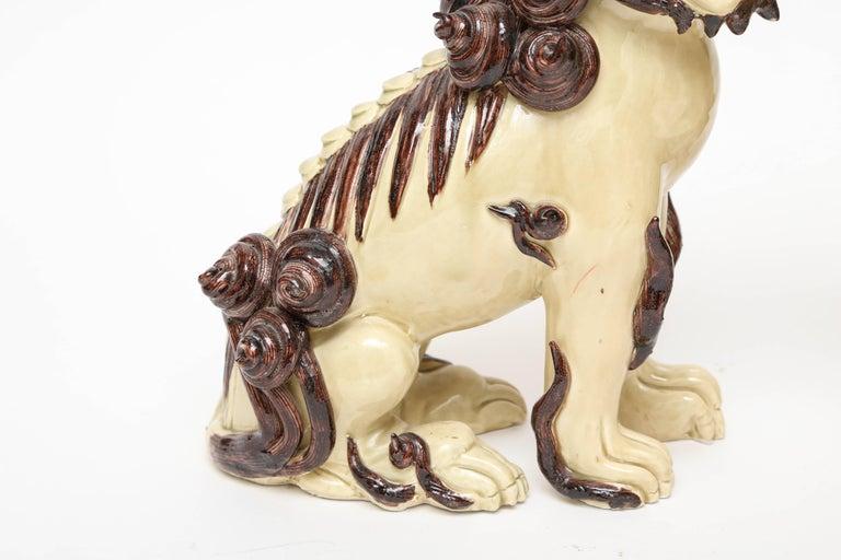 Pair of Glazed Terra Cotta Foo Dogs For Sale 2