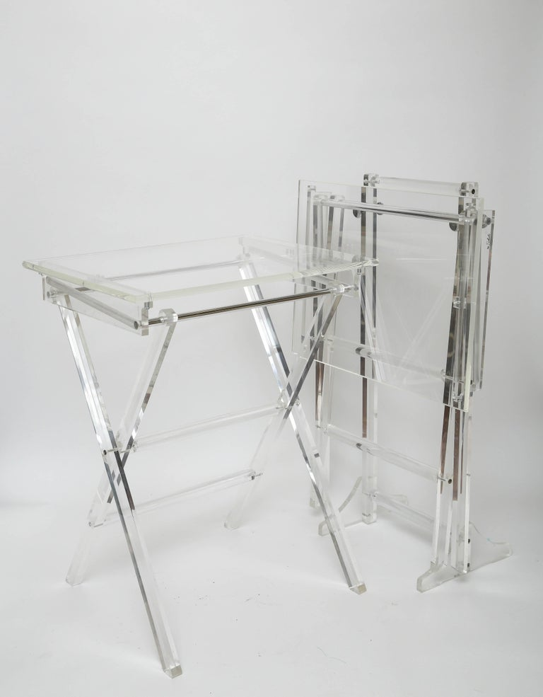 Vintage Set of Lucite Snack Tables with Stand For Sale 3