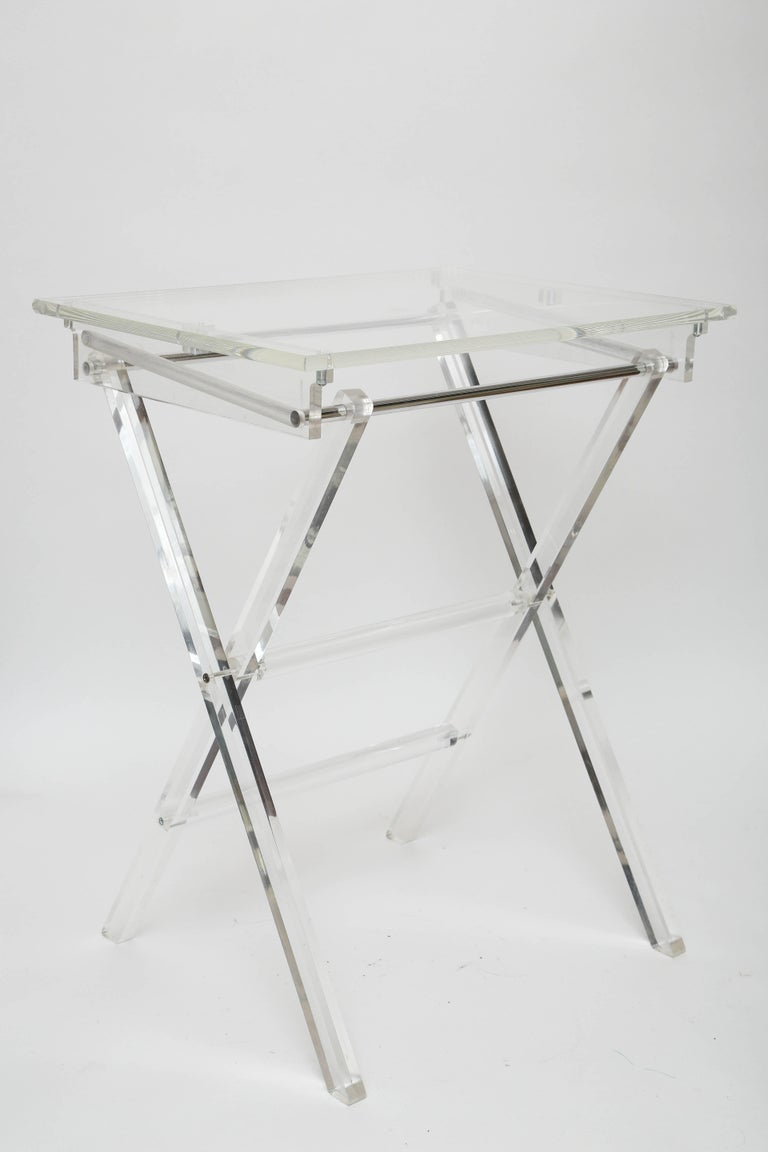 Vintage Set of Lucite Snack Tables with Stand For Sale 4