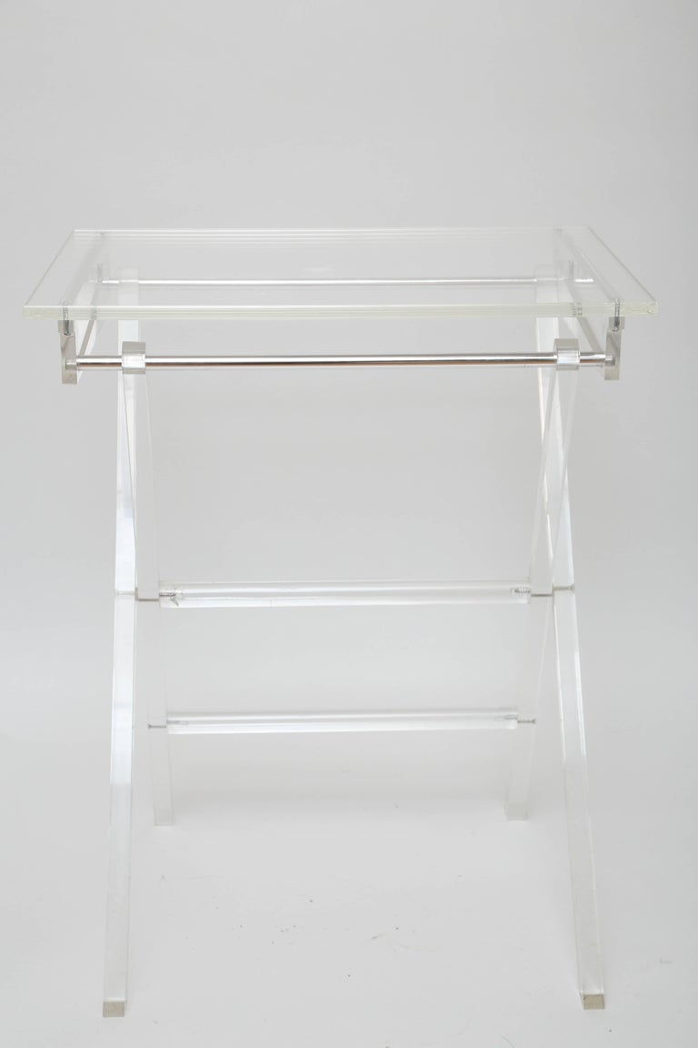 Vintage Set of Lucite Snack Tables with Stand For Sale 5
