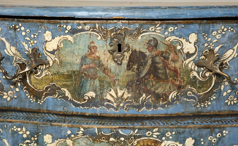 18th Century and Earlier 18th Century Painted Blue Italian Commode For Sale