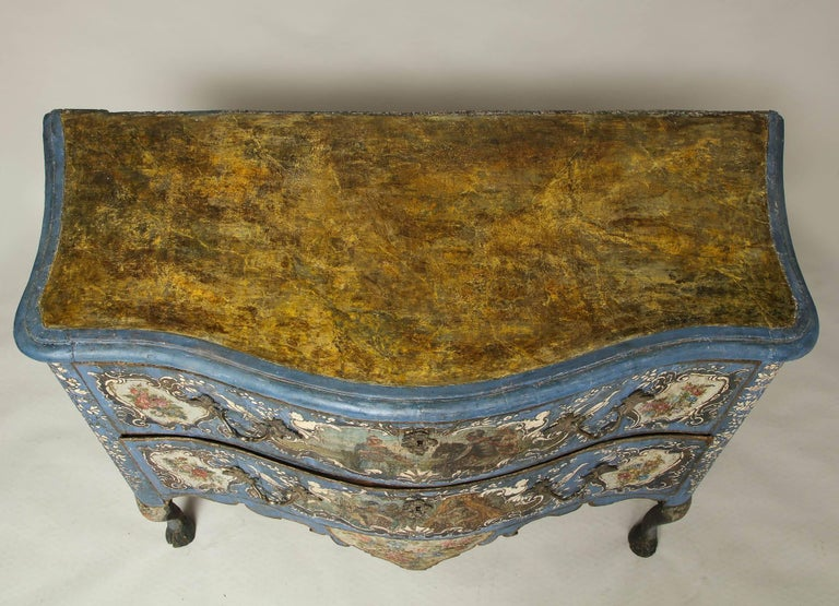18th Century Painted Blue Italian Commode For Sale 2