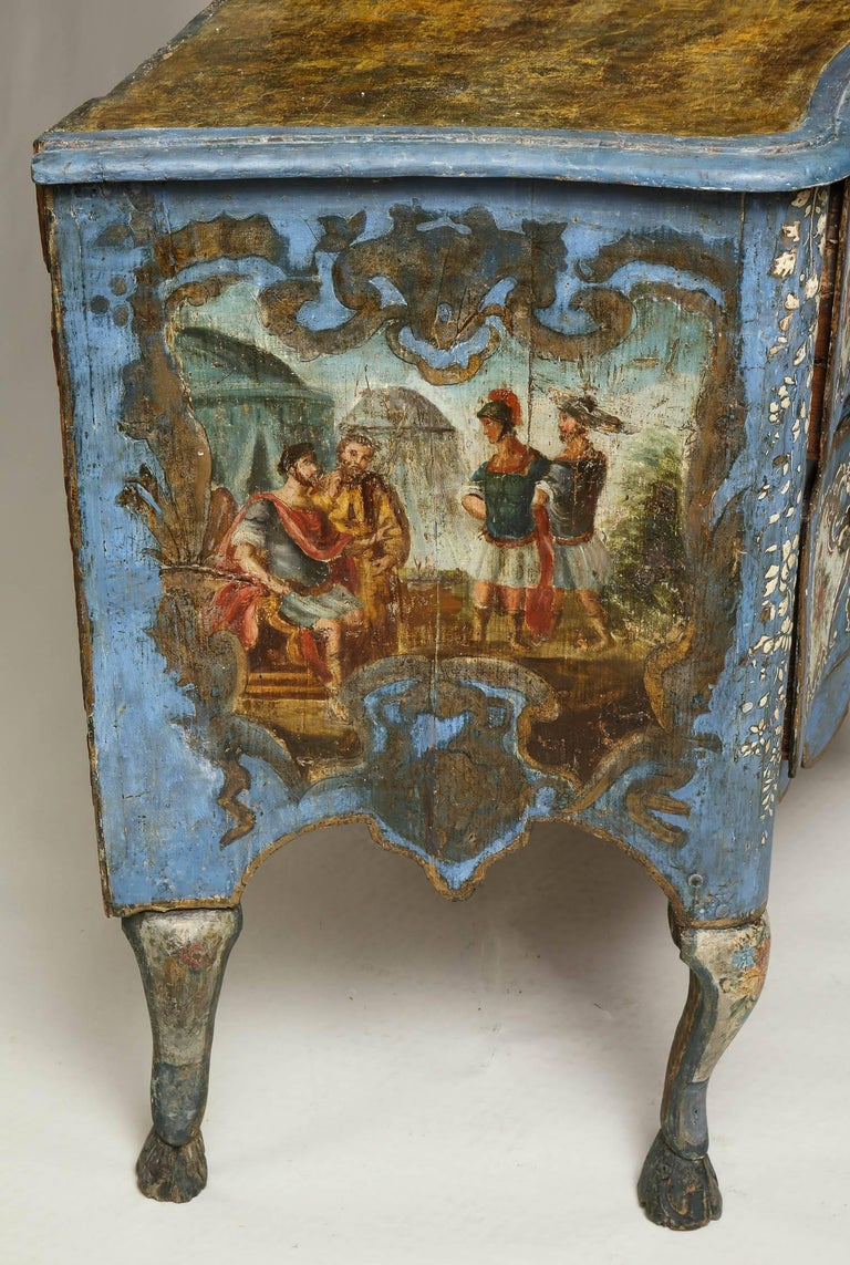 18th Century Painted Blue Italian Commode For Sale 3