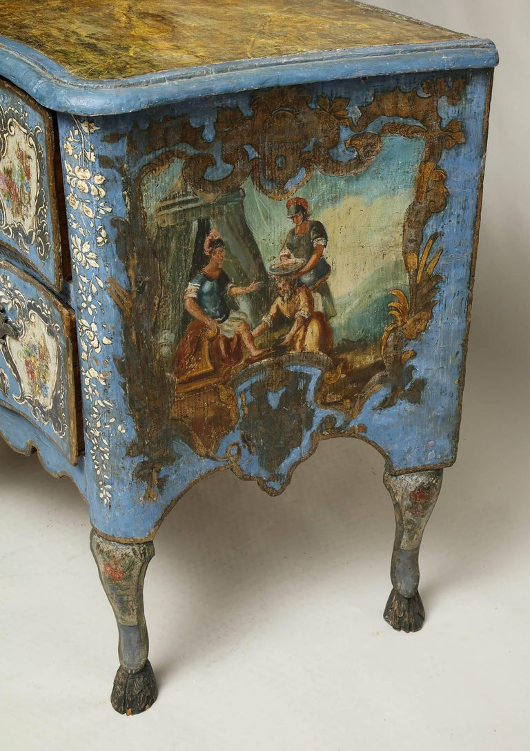 18th Century Painted Blue Italian Commode For Sale 4