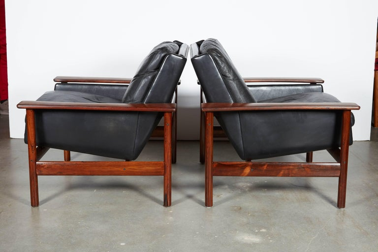 Sven Ivar Dysthe 7001 Leather Lounge Chairs, Pair 2