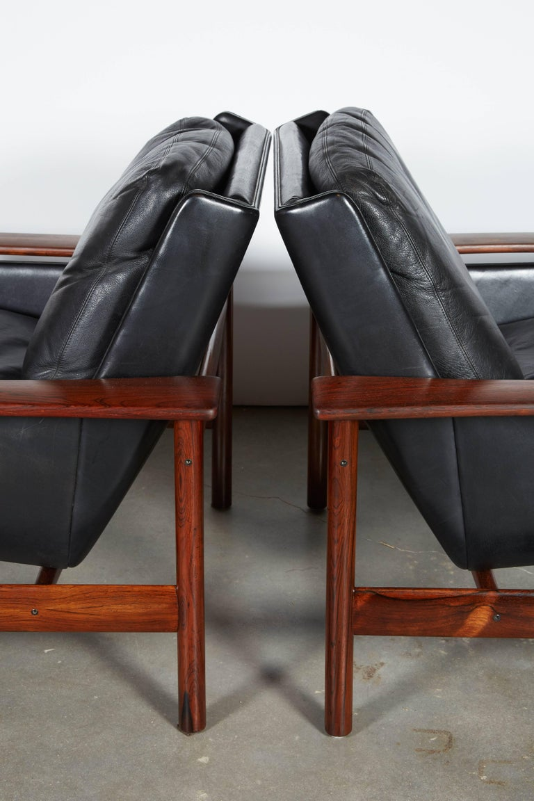 Sven Ivar Dysthe 7001 Leather Lounge Chairs, Pair 3