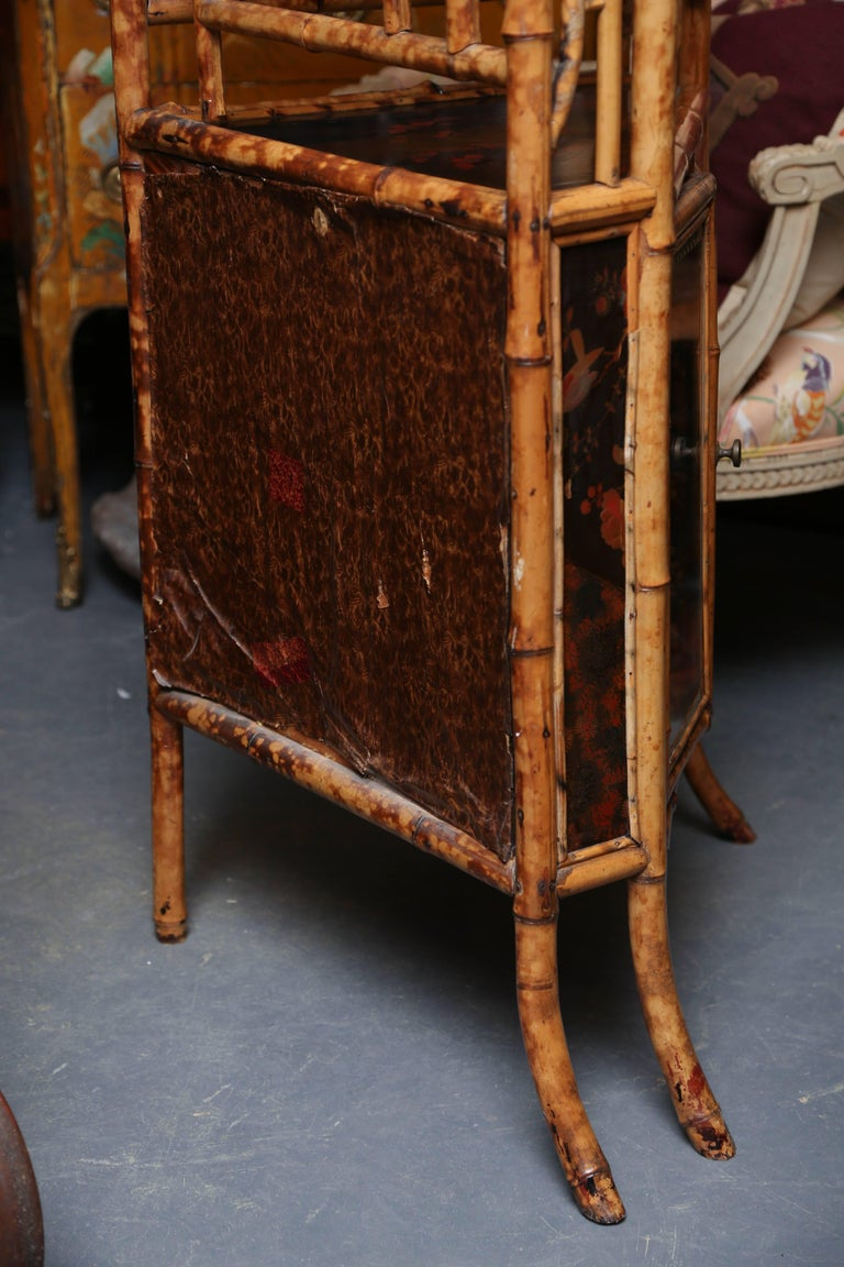Superb 19th Century English Bamboo Corner Cabinet In Good Condition For Sale In West Palm Beach, FL