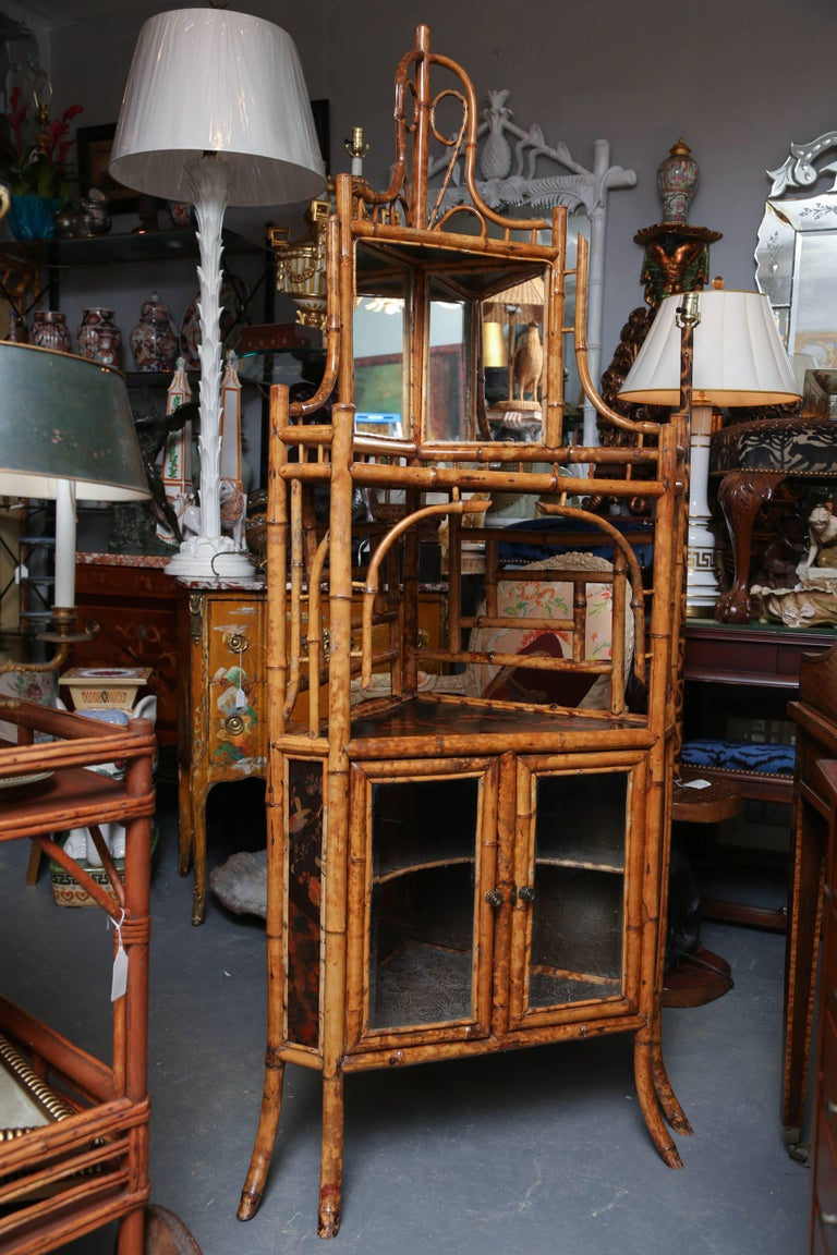 Superb 19th Century English Bamboo Corner Cabinet For Sale 1