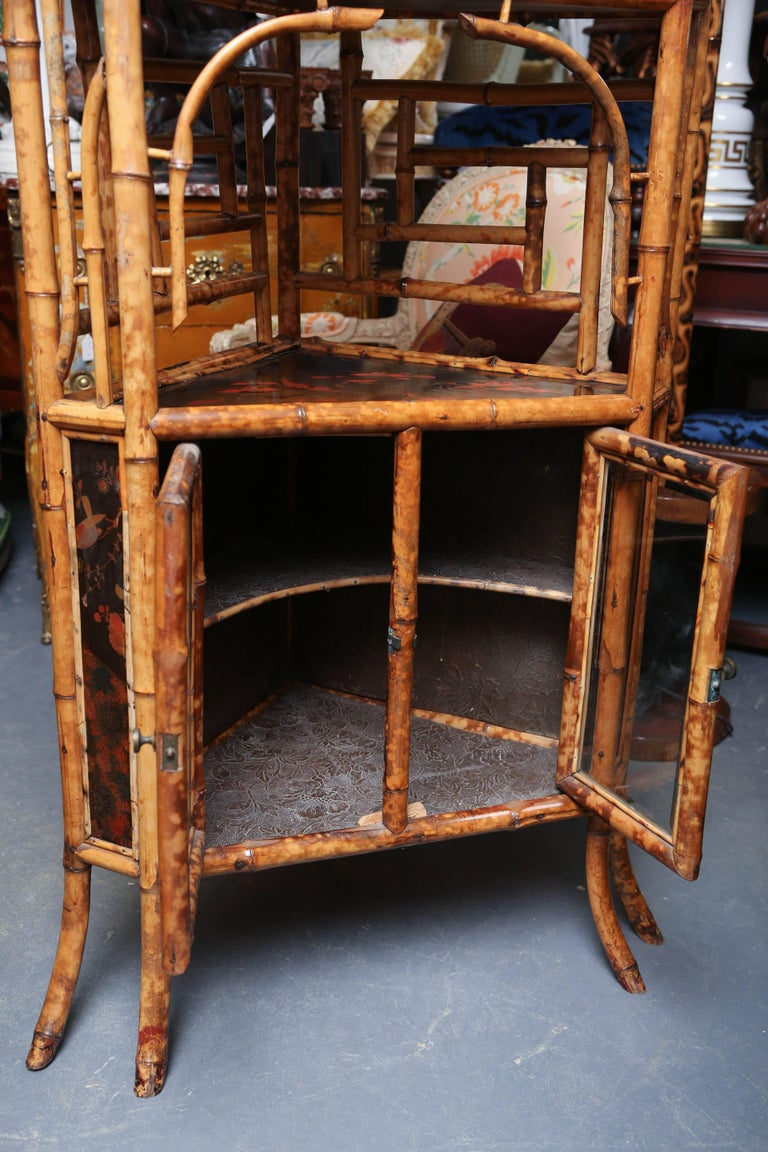 Superb 19th Century English Bamboo Corner Cabinet For Sale 2