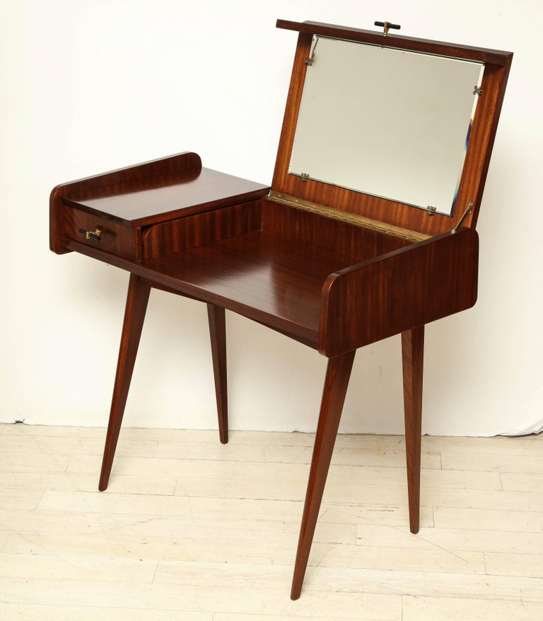 Italian Midcentury Sapele Wood Vanity or Dressing Table with Hinged Mirror