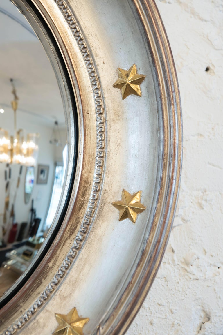 American Vintage Hollywood Regency Style Convex Mirror For Sale
