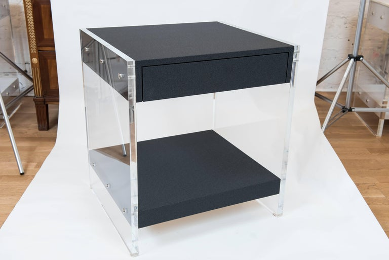 Canadian Custom Acrylic and Faux Shagreen Wrapped End Tables For Sale
